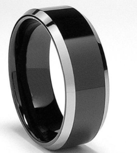 black flat polished tungsten ring