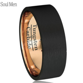 black gold polished custom tungsten rings