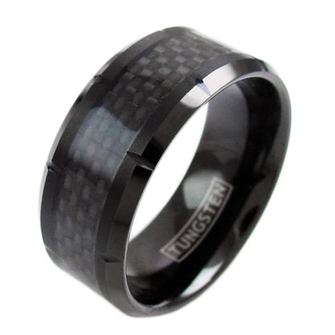10mm black tungsetn ring with carbon fiber