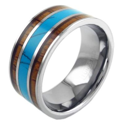 10mm tungsten ring with turquoise between koa wood
