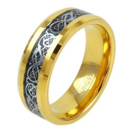 14k gold tungsten ring with silver celtic dragon on black inlay
