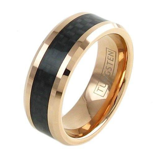 BEAUTIFUL ROSE GOLD PLATED TUNGSTEN RING WITH BLACK CARBON FIBER INLAY