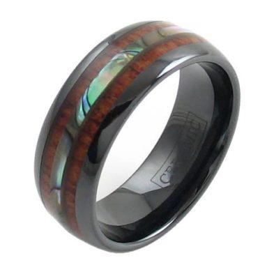 black ceramic dome ring abalone koa wood inlay