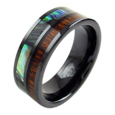 black ceramic ring with abalone koa wood