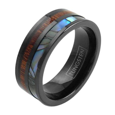 black flat tungsten ring band abalone koa wood inlay