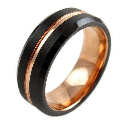 black gold stripe tungsten ring wedding band