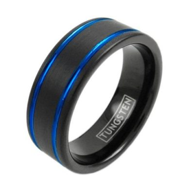 black tungsetn ring two double blue racing stripes