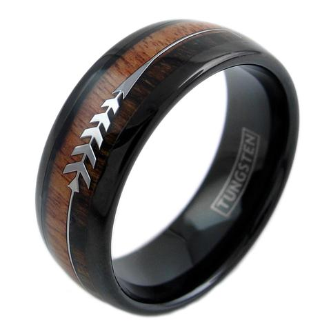 black tungsten dome ring with koa feather arrow