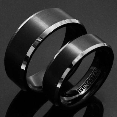 black tungsten matching couples ring wedding band