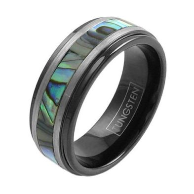 black tungsten ring band with abalone silver stripes