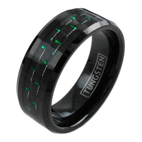 black tungsten ring band with black green carbon fiber