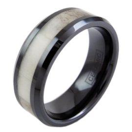 black tungsten ring band with ceramic deer antler inlay