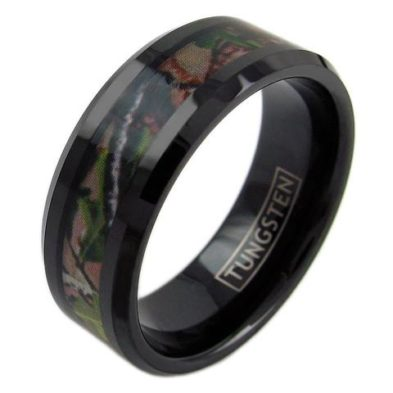black tungsten ring band with leaf camo