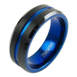 black tungsten ring blue stripe blue inside