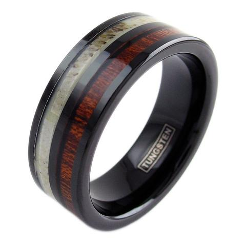 black tungsten ring deer antler koa wood