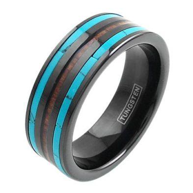 black tungsten ring koa wood two turquoise inlays