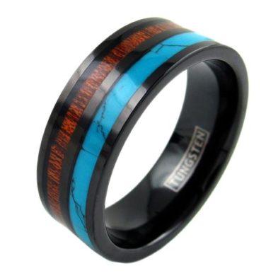 black tungsten ring turquoise koa wood inlay