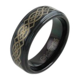 black tungsten ring wedding band with 14k gold celtic knot