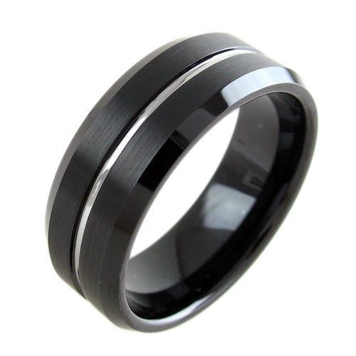 black tungsten ring wedding band with silver line