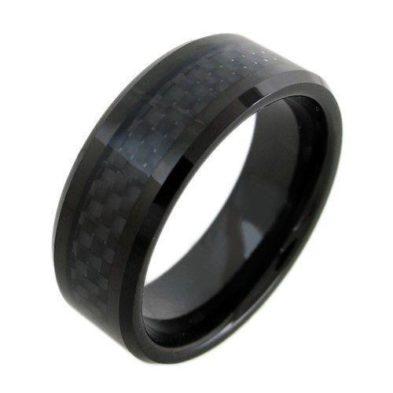 black tungsten ring with black carbon fiber