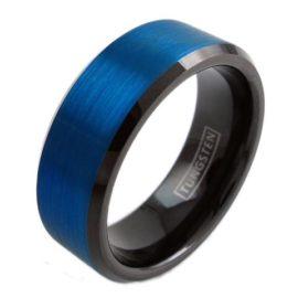 black tungsten ring with cobalt blue