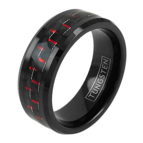 black tungsten ring with red black carbon fiber