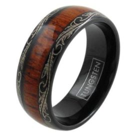 black tungsten ring with wood leaf edge
