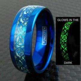 blue glow in the dark tungsten ring