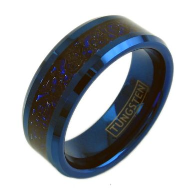 blue tungsten ring band with black dragon celtic