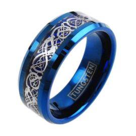 blue tungten ring band silver celtic dragon cobalt blue