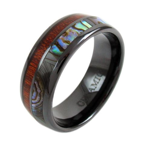 ceramic ring with abalone wood inlay
