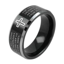 christian tungsten ring with cross band