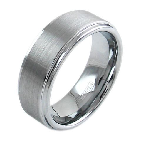 classic silver tungsten ring