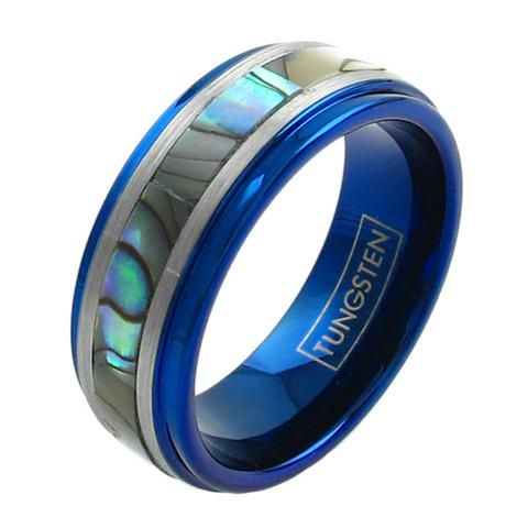 cobalt blue tungsten blue ring abalone inlay