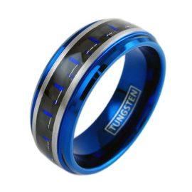 cobalt blue tungsten ring with carbon fiber