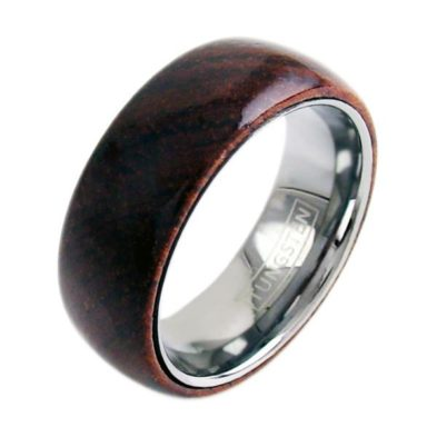 dome wood tungsten ring wedding band