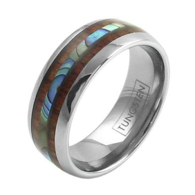 elegant silver tungsten ring with abalone inlay koa wood stripes