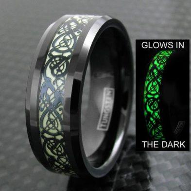 glow in the dark black tungsten ring celtic dragon