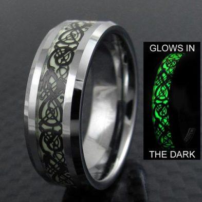 glow in the dark silver tungsten ring celtic dragon