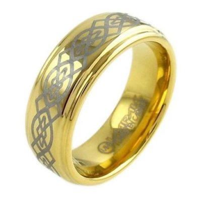 gold tungsten ring with silver dragon celtic design