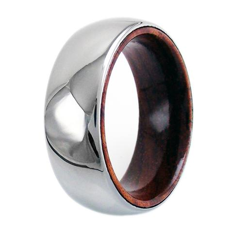 mirror polished tungsten ring with wood inside