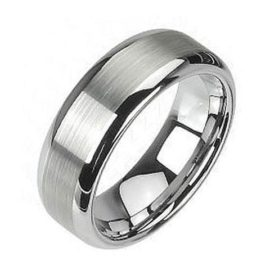 mirror tungsten ring silver band polished