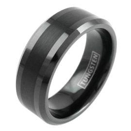 modern minimalist black tungsten ring