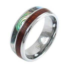modern silver tungsten ring with koa wood abalone inlay