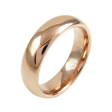 rose gold dome tungsten ring wedding band