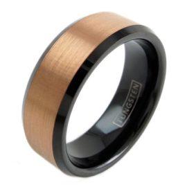 rose gold tungsten ring black inside