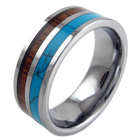 silver flat tungsten ring band turquoise koa wood