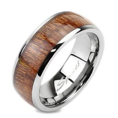 silver mirror tungsten ring wedding band with wood