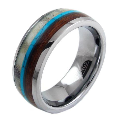 silver tungsten ring blue deer antler koa wood