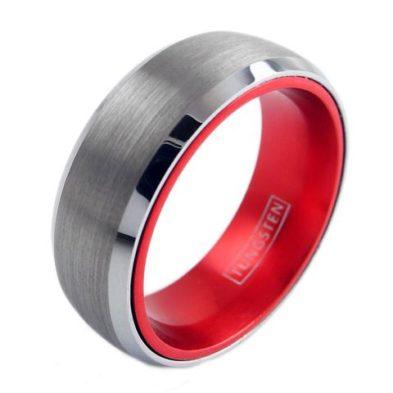 silver tungsten ring red inside